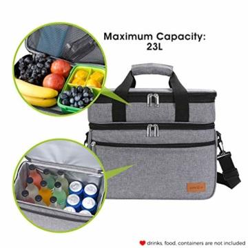 Lifewit 23L Kühltasche Gross Lunchtasche Isoliert mit Abnehm- und Verstellbarer Schulterriemen für Aufbewahrung von Wärme und Kälte, Multifunktional Picknicktasche,Grau - 3