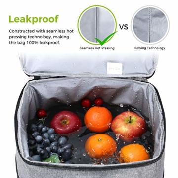Lifewit 23L Kühltasche Gross Lunchtasche Isoliert mit Abnehm- und Verstellbarer Schulterriemen für Aufbewahrung von Wärme und Kälte, Multifunktional Picknicktasche,Grau - 4