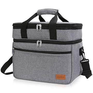 Lifewit 23L Kühltasche Gross Lunchtasche Isoliert mit Abnehm- und Verstellbarer Schulterriemen für Aufbewahrung von Wärme und Kälte, Multifunktional Picknicktasche,Grau - 1