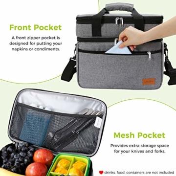 Lifewit 23L Kühltasche Gross Lunchtasche Isoliert mit Abnehm- und Verstellbarer Schulterriemen für Aufbewahrung von Wärme und Kälte, Multifunktional Picknicktasche,Grau - 5