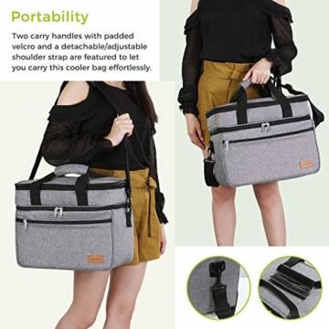 Lifewit 23L Kühltasche Gross Lunchtasche Isoliert mit Abnehm- und Verstellbarer Schulterriemen für Aufbewahrung von Wärme und Kälte, Multifunktional Picknicktasche,Grau - 6