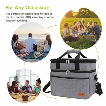 Lifewit 23L Kühltasche Gross Lunchtasche Isoliert mit Abnehm- und Verstellbarer Schulterriemen für Aufbewahrung von Wärme und Kälte, Multifunktional Picknicktasche,Grau - 7