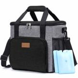 Lifewit Kühltasche Einkaufstasche Picknicktasche Lunchtasche Mittagessen Tasche Thermotasche Kühltasche Isoliertasche für Lebensmitteltransport,schwarz,mit Kühlakkus und Flaschenöffner - 1