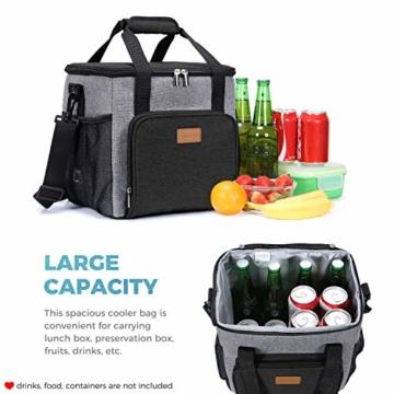 Lifewit Kühltasche Einkaufstasche Picknicktasche Lunchtasche Mittagessen Tasche Thermotasche Kühltasche Isoliertasche für Lebensmitteltransport,schwarz,mit Kühlakkus und Flaschenöffner - 3