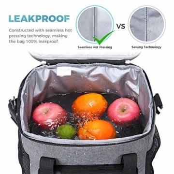 Lifewit Kühltasche Einkaufstasche Picknicktasche Lunchtasche Mittagessen Tasche Thermotasche Kühltasche Isoliertasche für Lebensmitteltransport,schwarz,mit Kühlakkus und Flaschenöffner - 4
