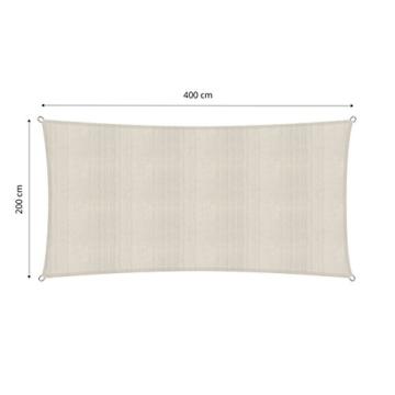 Lumaland Sonnensegel inkl. Befestigungsseile, 100% HDPE mit Stabilisator für UV Schutz, Rechteck 2 x 4 Meter Creme - 2