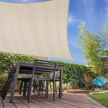 Lumaland Sonnensegel inkl. Befestigungsseile, 100% HDPE mit Stabilisator für UV Schutz, Rechteck 2 x 4 Meter Creme - 4