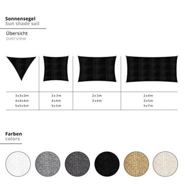 Lumaland Sonnensegel inkl. Befestigungsseile, 100% HDPE mit Stabilisator für UV Schutz, Rechteck 2 x 4 Meter Creme - 6