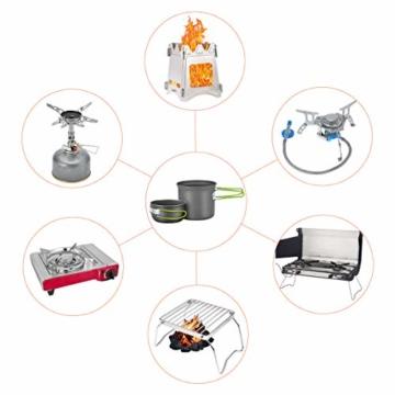 Magicfun Camping Kochgeschirr Set Camping Geschirr mit 2 Pfanne und 1 Campingkocher mit Piezo-Kocher Portable Leichte Outdoor Kochset Kochtopf Pan - 2