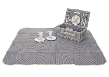 Mendler Picknickkorb-Set HWC-B24 für 4 Personen, Weiden-Korb, Porzellan Edelstahl, schwarz-weiß - 2