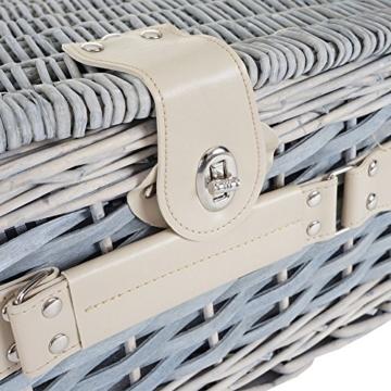 Mendler Picknickkorb-Set HWC-B24 für 4 Personen, Weiden-Korb, Porzellan Edelstahl, schwarz-weiß - 4