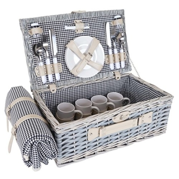 Mendler Picknickkorb-Set HWC-B24 für 4 Personen, Weiden-Korb, Porzellan Edelstahl, schwarz-weiß - 1