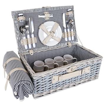 Mendler Picknickkorb-Set HWC-B24 für 4 Personen, Weiden-Korb, Porzellan Edelstahl, schwarz-weiß - 6
