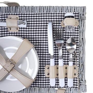 Mendler Picknickkorb-Set HWC-B24 für 4 Personen, Weiden-Korb, Porzellan Edelstahl, schwarz-weiß - 7