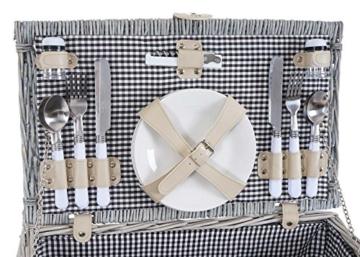 Mendler Picknickkorb-Set HWC-B24 für 4 Personen, Weiden-Korb, Porzellan Edelstahl, schwarz-weiß - 8