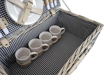 Mendler Picknickkorb-Set HWC-B24 für 4 Personen, Weiden-Korb, Porzellan Edelstahl, schwarz-weiß - 9