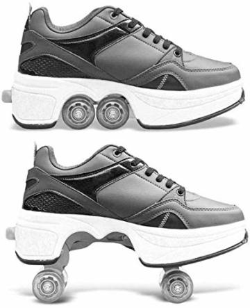 Mettime Rollschuh Roller Skates Lauflernschuhe,Sneakers,2in1 Mehrzweckschuhe Schuhe mit Rollen Skateboardschuhe,Inline-Skate,Verstellbare Quad-Rollschuh Stiefel Skateboardschuhe EU39/UK6 - 8