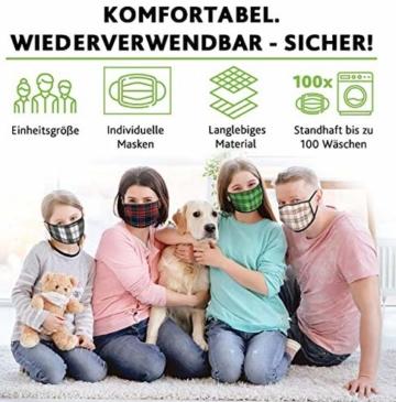 Mundschutz Maske mit Motiv – 4er Baumwoll Masken bunt, lustig, komisch – für Männer, Frauen & Kinder - 5