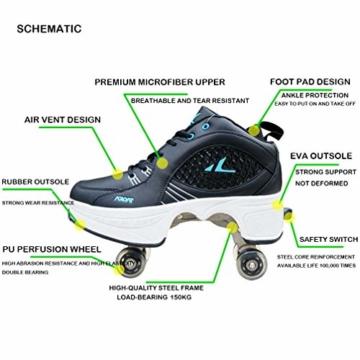 MX kingdom Rollschuh Roller Skates Lauflernschuhe,Sneakers,2in1 Mehrzweckschuhe Schuhe mit Rollen Skateboardschuhe,Inline-Skate,Verstellbare Quad-Rollschuh Stiefel Skateboardschuhe EU41/UK7.5-8 - 4
