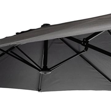 Nexos GM35136 Doppelsonnenschirm Sonnenschirm XXL mit Kurbel Anthrazit 4,50m Polyester Stahl Terrasse Garten Pool Oval-Schirm Marktschirm - 4