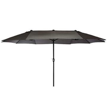 Nexos GM35136 Doppelsonnenschirm Sonnenschirm XXL mit Kurbel Anthrazit 4,50m Polyester Stahl Terrasse Garten Pool Oval-Schirm Marktschirm - 1