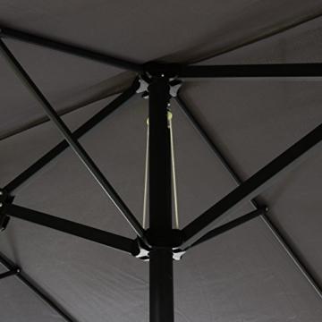 Nexos GM35136 Doppelsonnenschirm Sonnenschirm XXL mit Kurbel Anthrazit 4,50m Polyester Stahl Terrasse Garten Pool Oval-Schirm Marktschirm - 5