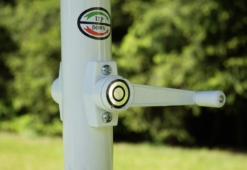 Nexos Sonnenschirm Mittelstabschirm Ø 3,80m grün 8 Rippen Kurbel Stand-Sonnenschirm Sonnenschutz Garten Camping Terrasse Gestänge aus Aluminium Stahl - 3