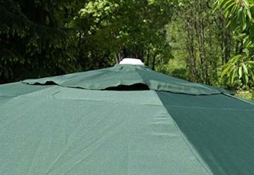 Nexos Sonnenschirm Mittelstabschirm Ø 3,80m grün 8 Rippen Kurbel Stand-Sonnenschirm Sonnenschutz Garten Camping Terrasse Gestänge aus Aluminium Stahl - 4