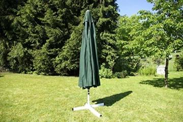 Nexos Sonnenschirm Mittelstabschirm Ø 3,80m grün 8 Rippen Kurbel Stand-Sonnenschirm Sonnenschutz Garten Camping Terrasse Gestänge aus Aluminium Stahl - 5