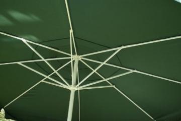 Nexos Sonnenschirm Mittelstabschirm Ø 3,80m grün 8 Rippen Kurbel Stand-Sonnenschirm Sonnenschutz Garten Camping Terrasse Gestänge aus Aluminium Stahl - 6