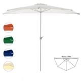 Nexos Sonnenschirm Weiß halbrund Ø 2,70 x 1,40m Wandschirm Balkon-Schirm mit Kurbel Polyester 160 g/m² Sonnenschutz - 1