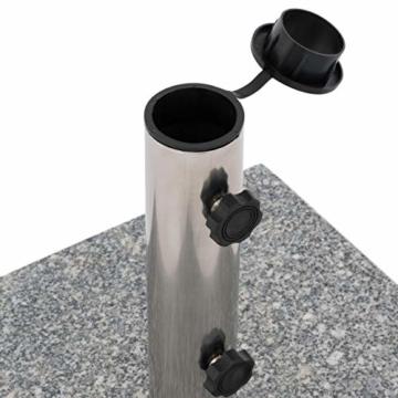 Nexos Sonnenschirmständer 30kg polierter Granit Edelstahl eckig 45 x 45 cm Schirmständer mit Griff und Rollen - 6