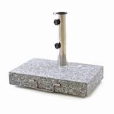 Nexos Sonnenschirmständer Granit Edelstahl 25kg halb eckig mit Griff und Räder 45,5 x 28 x 39 cm grau - 1