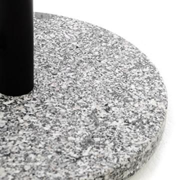 Nexos Sonnenschirmständer Granit grau 40cm rund Schirmständer Edelstahlrohr mit Feststellschrauben und 3 Standfüße Kunststoffringe 10 kg - 2