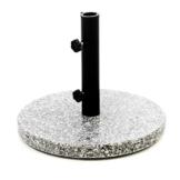 Nexos Sonnenschirmständer Granit grau 40cm rund Schirmständer Edelstahlrohr mit Feststellschrauben und 3 Standfüße Kunststoffringe 10 kg - 1