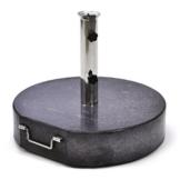 Nexos Sonnenschirmständer Granit rund matt-schwarz gefärbt mit Reduzierringen Edelstahl Hülse Griff Rollen Ø 50cm 60kg Für Schirme bis 5m - 1