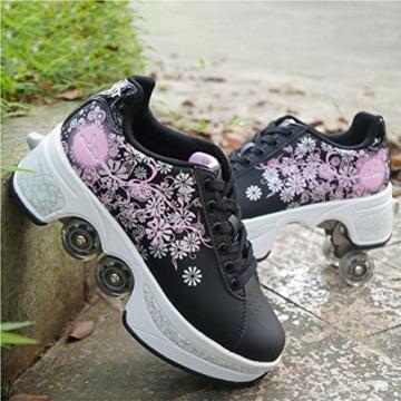 NNZZY Multifunktionale Deformation Schuhe Quad Skate Rollschuhe Skating Outdoor Sportschuhe für Erwachsene, Black, 39 - 1
