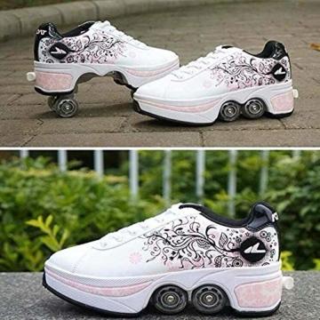 NOBRAND Multifunktionale verformte Schuhe für Kinder, Studenten, Erwachsene, Rollschuhe, Rollschuhe, Outdoor, Sport, Skaten, Reisen, beste Wahl, weiß, 39 - 3