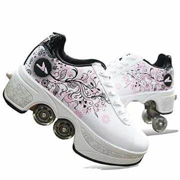 NOBRAND Multifunktionale verformte Schuhe für Kinder, Studenten, Erwachsene, Rollschuhe, Rollschuhe, Outdoor, Sport, Skaten, Reisen, beste Wahl, weiß, 39 - 1