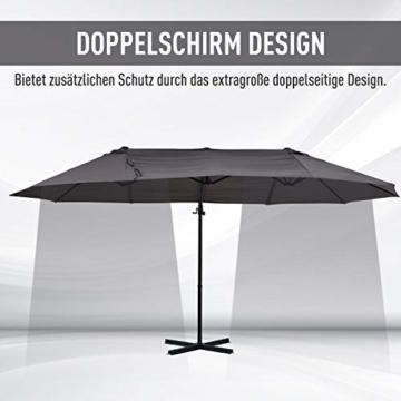 Outsunny Sonnenschirm mit Kurbel, Doppelschirm, Verstellbarer Gartenschirm, Sonnenschutz, Metall, Grau, 460 x 270 x 250 cm - 2