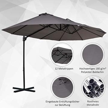 Outsunny Sonnenschirm mit Kurbel, Doppelschirm, Verstellbarer Gartenschirm, Sonnenschutz, Metall, Grau, 460 x 270 x 250 cm - 3