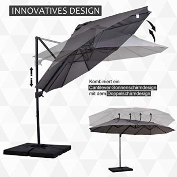 Outsunny Sonnenschirm mit Kurbel, Doppelschirm, Verstellbarer Gartenschirm, Sonnenschutz, Metall, Grau, 460 x 270 x 250 cm - 5