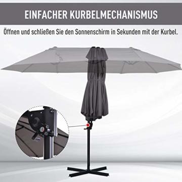 Outsunny Sonnenschirm mit Kurbel, Doppelschirm, Verstellbarer Gartenschirm, Sonnenschutz, Metall, Grau, 460 x 270 x 250 cm - 6