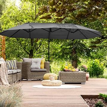 Outsunny Sonnenschirm mit Kurbel, Doppelschirm, Verstellbarer Gartenschirm, Sonnenschutz, Metall, Grau, 460 x 270 x 250 cm - 7