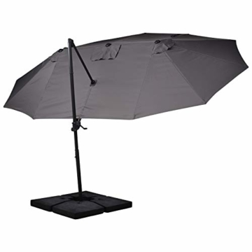 Outsunny Sonnenschirm mit Kurbel, Doppelschirm, Verstellbarer Gartenschirm, Sonnenschutz, Metall, Grau, 460 x 270 x 250 cm - 8