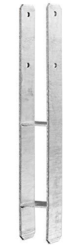 Pfostenträger 121 mm H-Form feuerverzinkt mit CE Kennung, made in Germany, 6 mm, Carport Zaun Holzkonstruktionen - 1