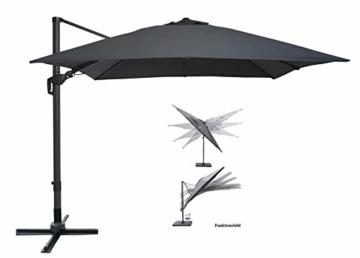 Pure Home & Garden Ampelschirm Roma 300x300 cm in anthrazit inklusive Ständer, sowohl axial als auch am Mast verstellbar, UV-Schutz 50 Plus - 1