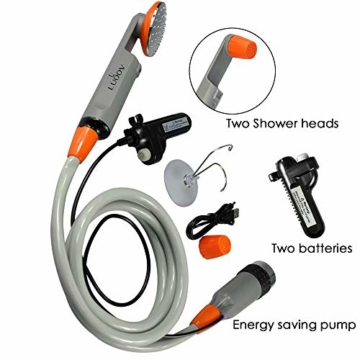 Qbuds Tragbare Campingdusche, kompakte Duschpumpe mit Zwei abnehmbaren USB-Akkus, Handbrause für Camping, Wandern, Reisen, Notfälle (2 Batterien) - 4
