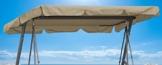 QUICK STAR Ersatzdach Gartenschaukel Universal PASSEND von 110x170cm bis 145x200cm Hollywoodschaukel 3 Sitzer UV 50 Ersatz Bezug Sonnendach Schaukel Sand/Beige - 1