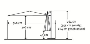 Schneider Sonnenschirm Rhodos Twist, anthrazit, ca. 300 x 300 cm, 8-teilig, quadratisch - 11
